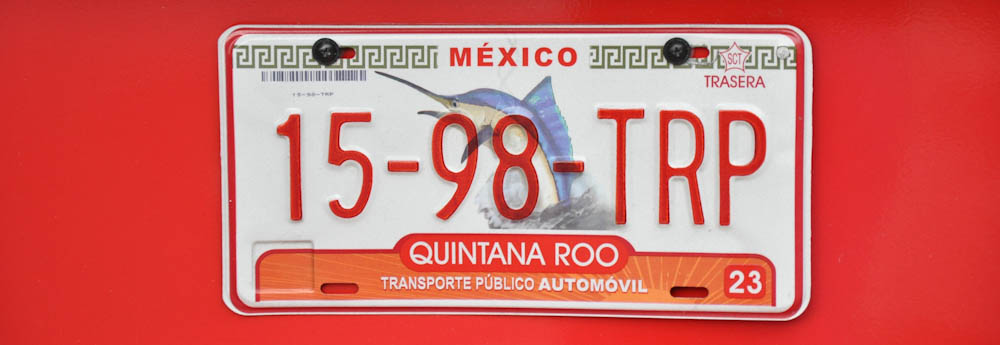 Beautiful Mexican number plate from Quintana Roo