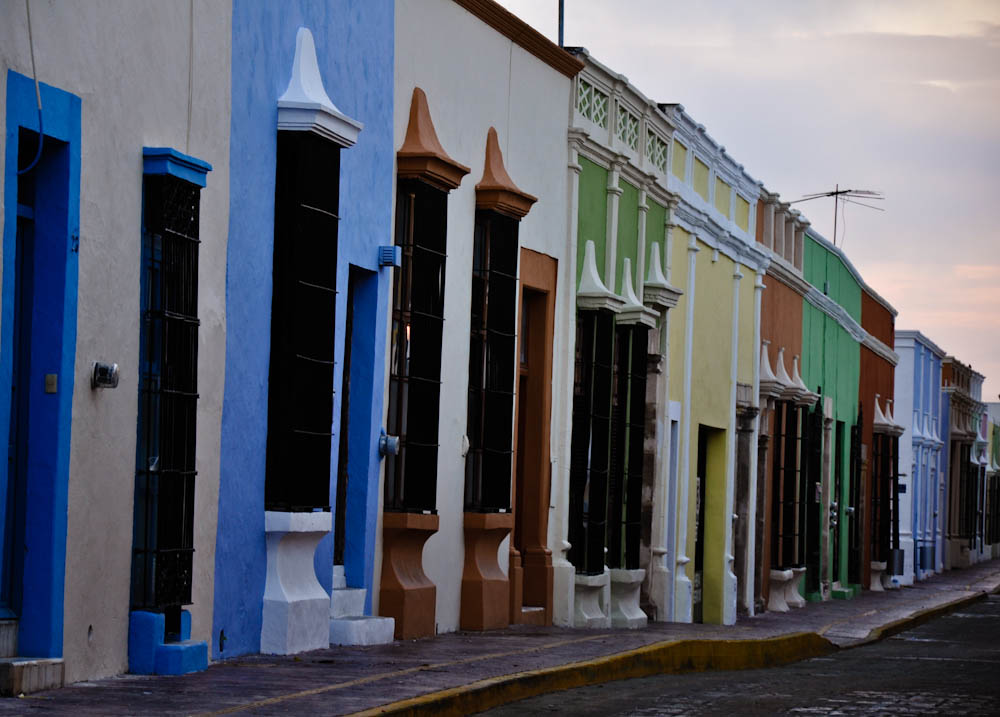 Colorful campeche houses at dawn