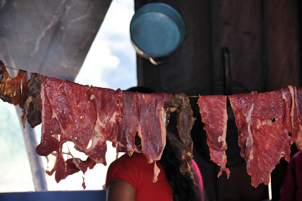 When you don't have a fridge, hang the meat out in the open. It will stay dry and last longer!