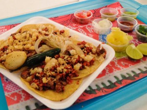 Tacos con chorizo in Mexico City