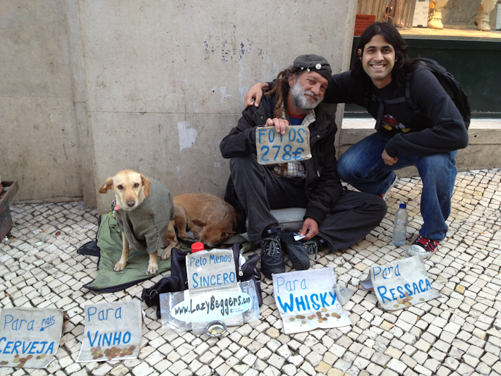 Lazy Beggars in Lisbon, Portugal