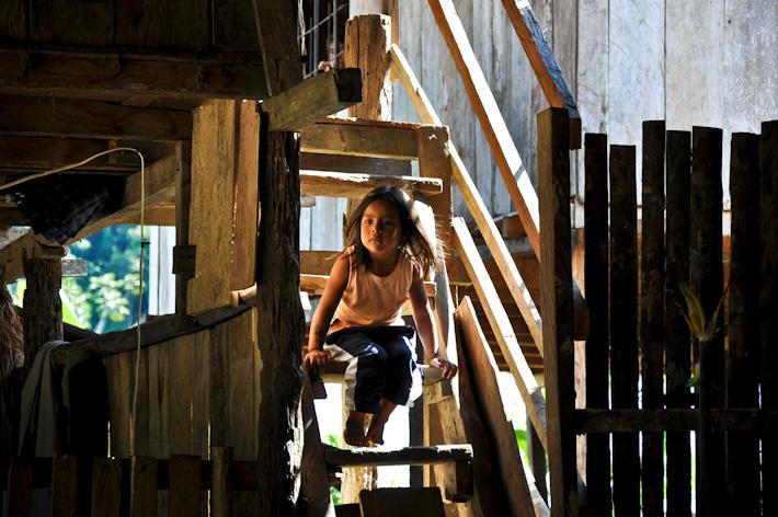Indigenous girl in the ecuadorean amazon