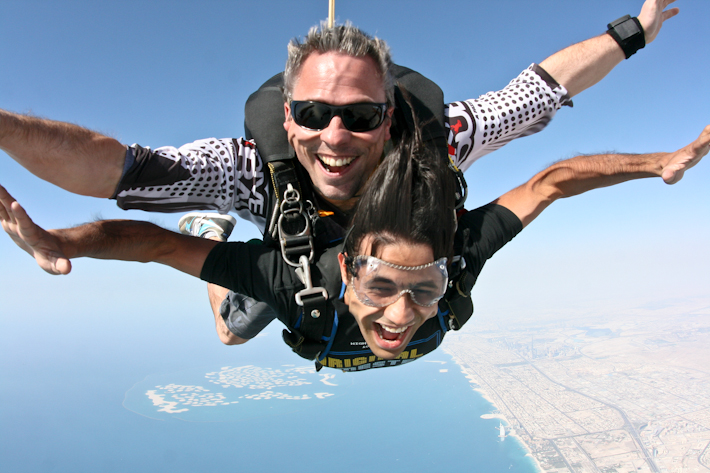 Skydiving over Palm Jumeirah in Dubai