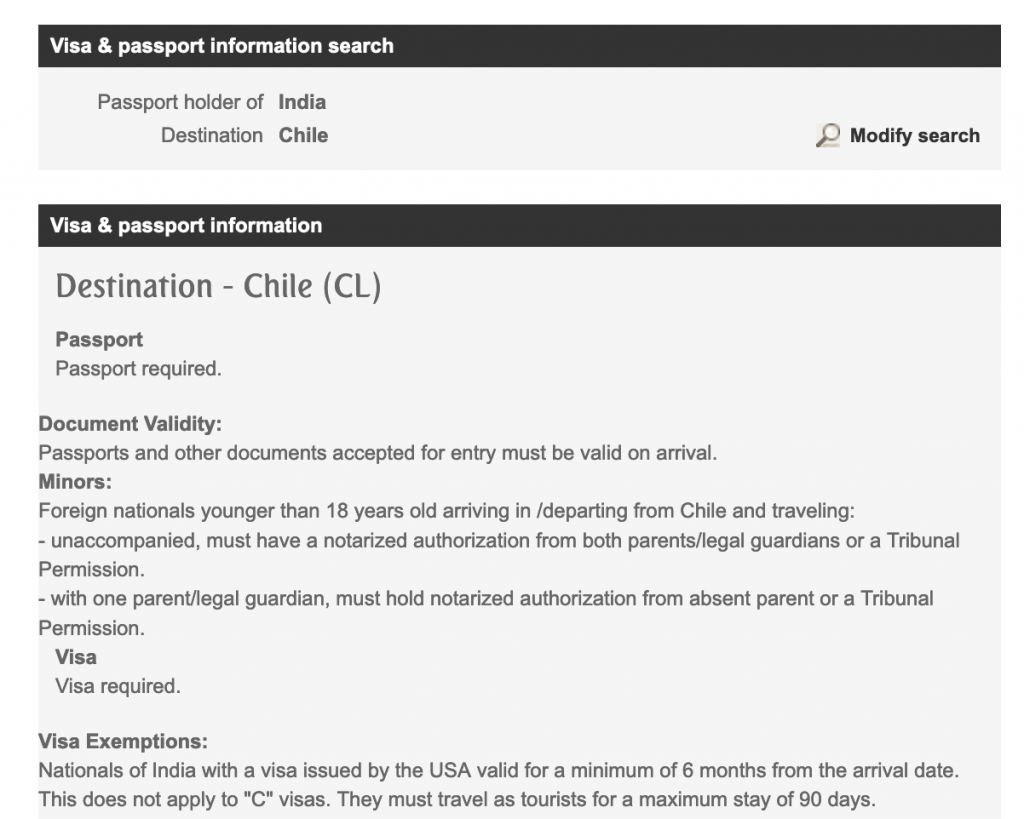 Chile Visa For Indians Backpack Me