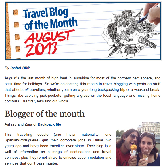 Hostelbookers.com travel blog of the month August 2013
