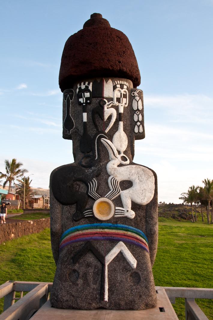 Funky Moai statue in Easter Island