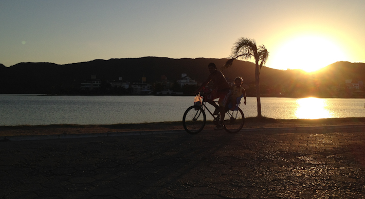 Cycling in the sunset