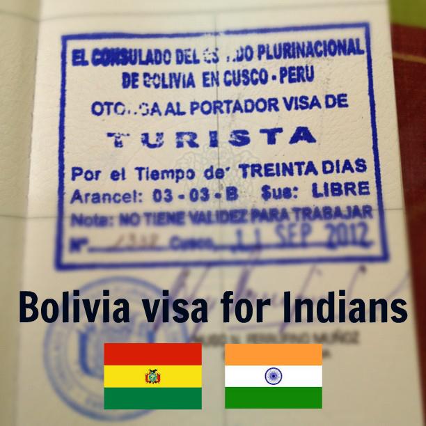 Bolivia visa for Indians