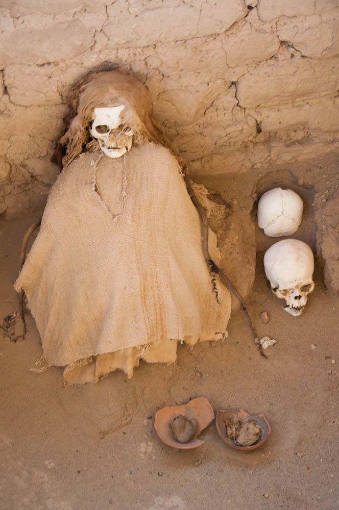 The dry climate of the Nazca desert helped preserved these mummies