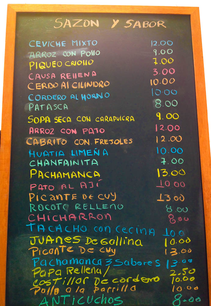 Menu filled with typical Peruvian goodies
