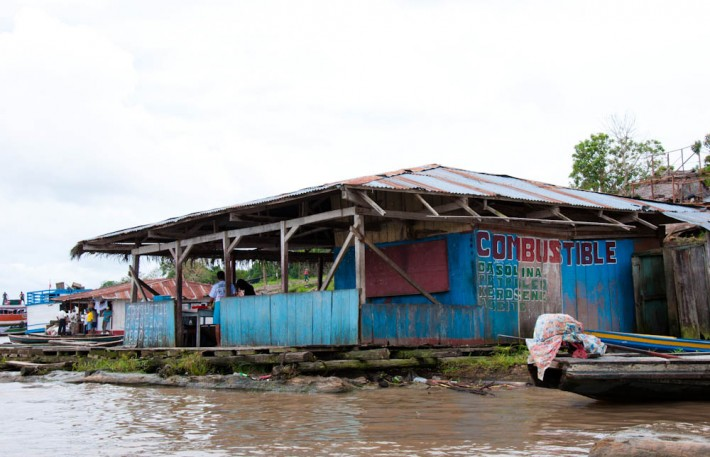 A petrol pump in the Amazon River