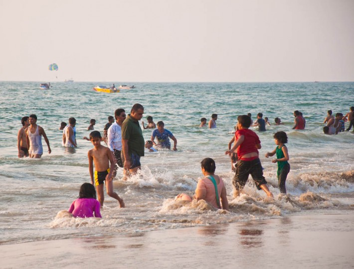Calangute beach on Christmas day, Goa
