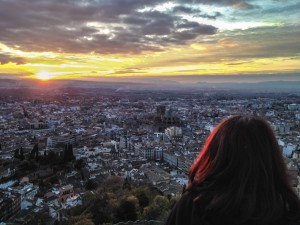 Aerial view of Granada at sunset, Spain