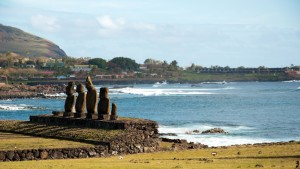 Moai statues and an ocean view in Easter Island