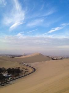 Sand dunes by Huacachina Oasis, Peru