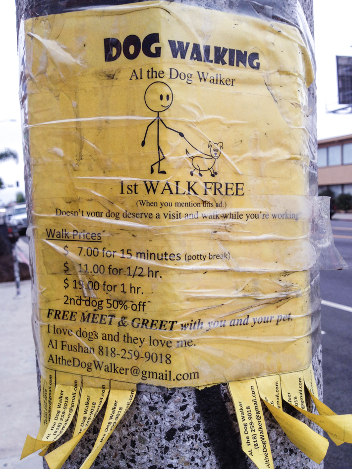 Dog walking ad in Melrose Place