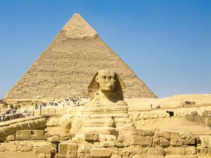 Sphinx and Pyramid in Giza Cairo