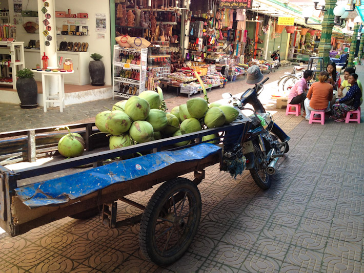 Young coconuts in Siem Reap, Cambodia