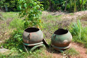 Recycled trash cans in Cambodia