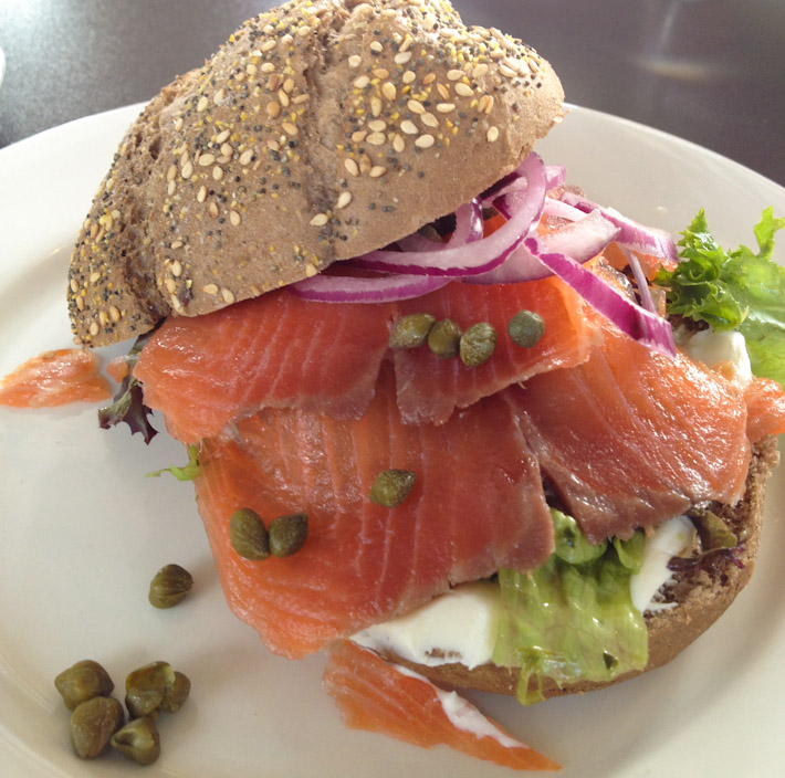 For breakfast or lunch, smoked salmon and cream cheese sandwiches with capers are ALWAYS welcome!