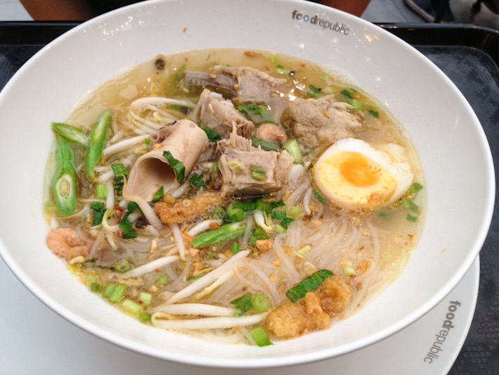 Rice noodles and pork soup - yep, that's a pork artery you're seeing there!.. If you're going to kill an animal for food, you better use all of it!
