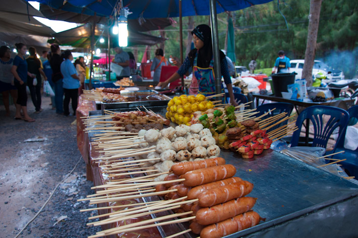 There's plenty of snacks served on skewers in Thailand: sausages, meat balls and fish balls are amongst the most popular in street markets