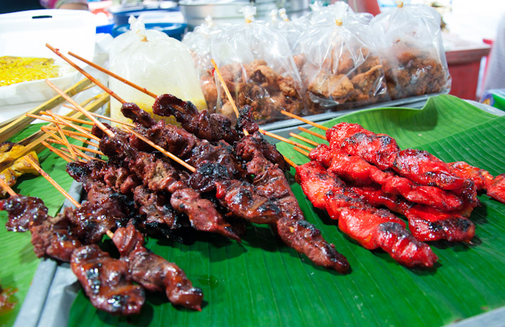 Various satays: marinated meat on skewers, charcoal grilled to tenderness