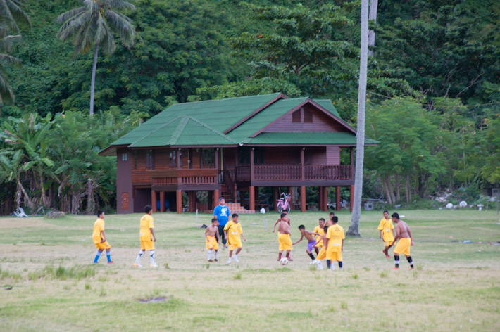 Kids from Tonsai Village playing a football match