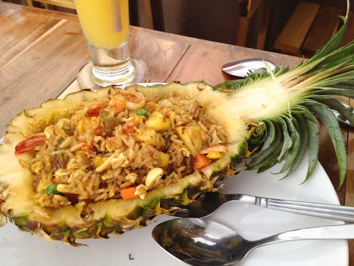 Pineapple fried rice enjoyed in paradise for around $4 - not THAT bad!..