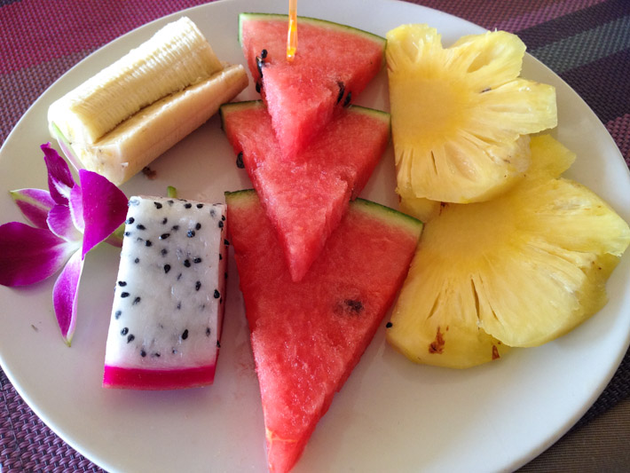 Seasonal fruit platter in Ko Phi Phi: banana, dragon fruit, watermelon and pineapple
