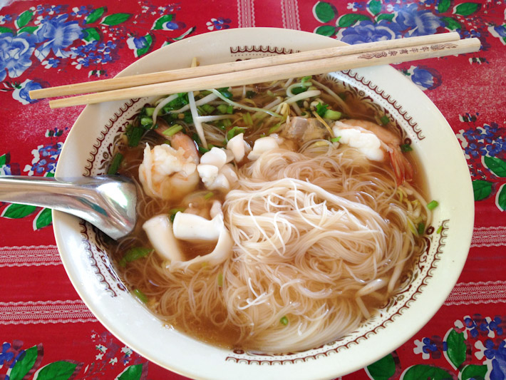 Rice noodle soup with assorted sea food, in the island of Koh Lanta, for little over $1. PARADISE!
