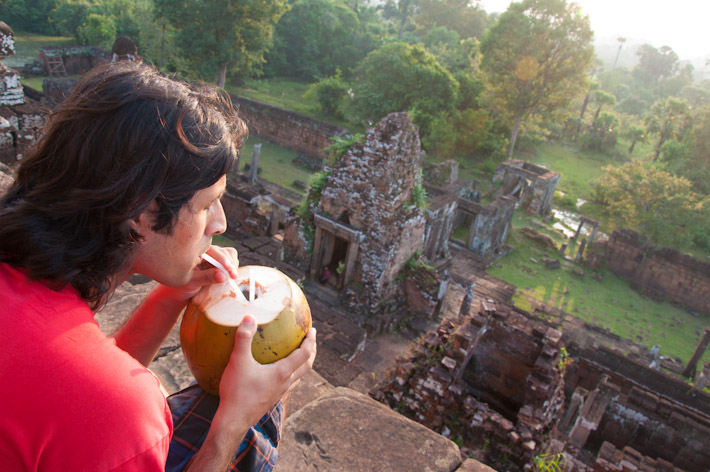 The best thirst quencher in Cambodia and South East Asia in general: chilled young coconut - best enjoyed with wonderful views like those at Angkor Wat