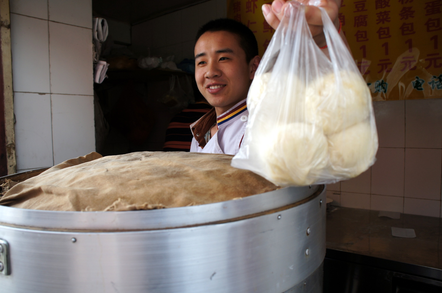 Buying some baozi - Chinese dumplings