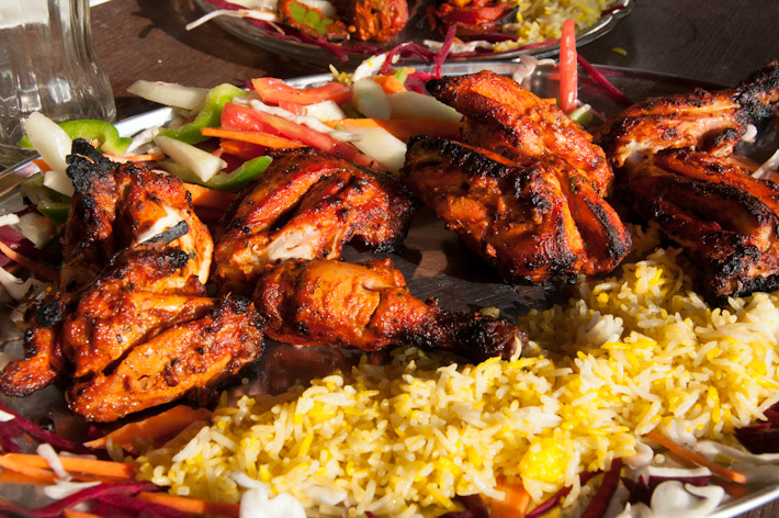Tandoori chicken with saffron rice - as if Goa wasn't HOT enough by itself!