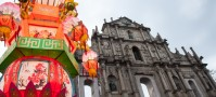 Macau's cathedral during Chinese New Year