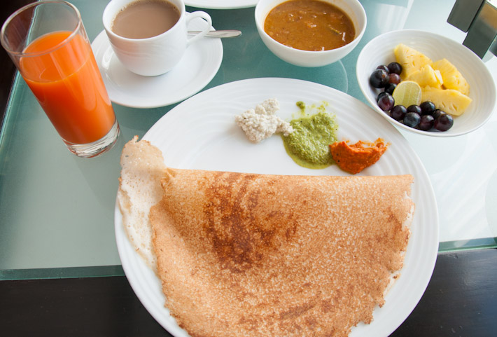 Breakfast dosa with sambar and chutneys in Chennai, Tamil Nadu