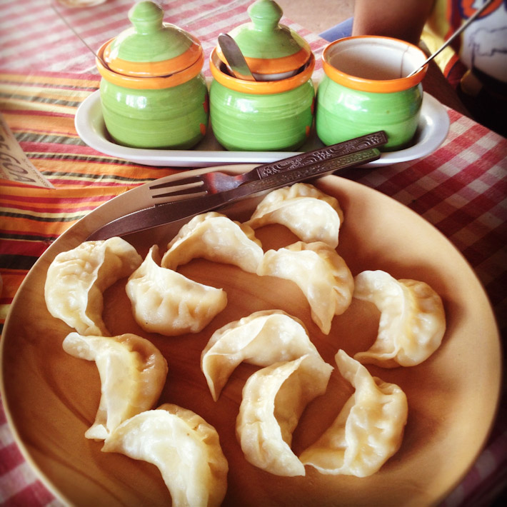 मम Nepali Momos (chicken dumpling), at a Nepalese restaurant in Goa.