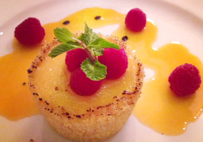 Passion fruit & raspberry tart. Midnight craving? Call room-service...