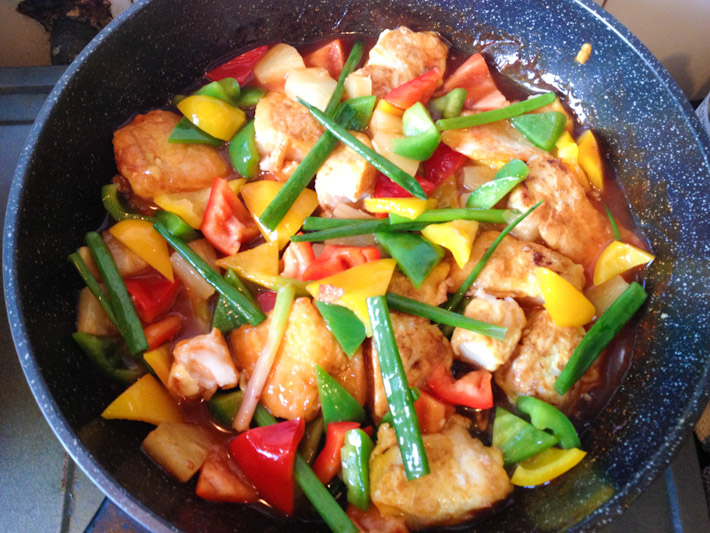 Sweet & sour fish with pineapple and assorted bell peppers