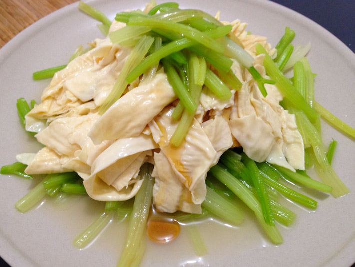 Bean curd and celery salad, dressed with sesame oil