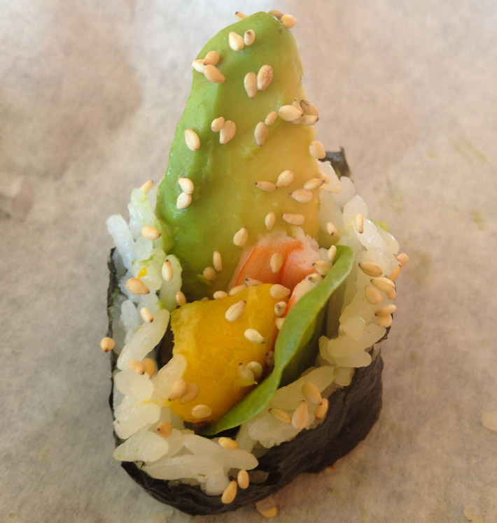 Ashray's maki roll creation: prawn, avocado, mango and spinach, prepared at How Do You Roll, a fast food restaurant where you create your own sushi