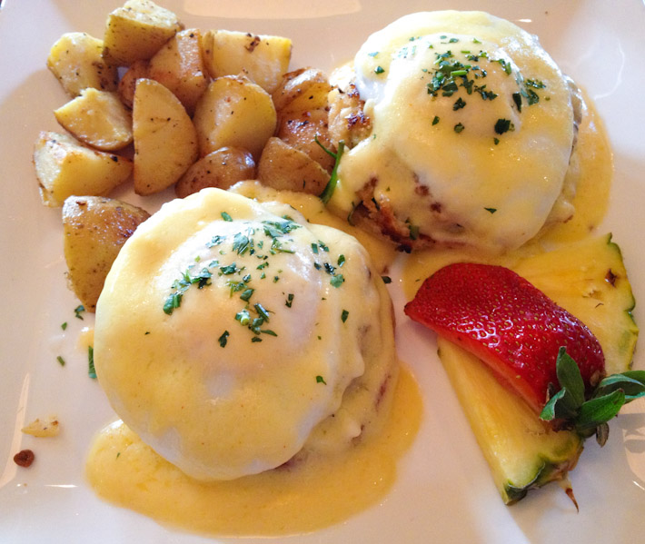 Eggs Benedict on crab cakes at Sonoma County, California - borderline luxurious for breakfast.