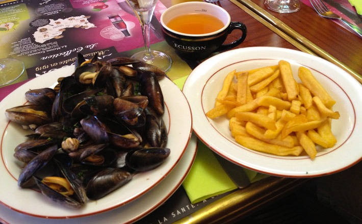"Moules at Frites, aka, steamed mussels and french fries. With a ""compulsory"" cup of apple side, because this is Normandy mes amis!"