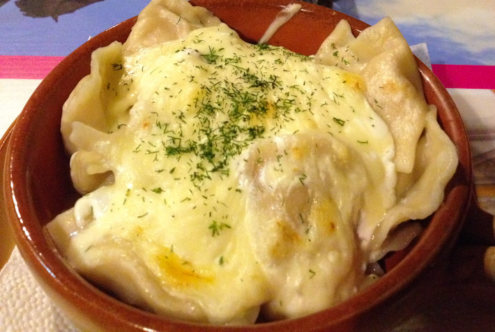 Meat Pelmeni: Russian dumplings stuffed with me. In a little Russian restaurant in the city of Brno.