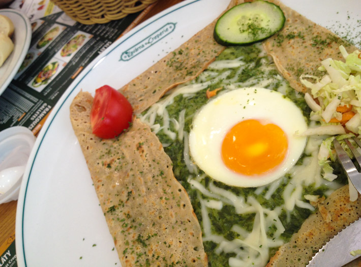 Not a Czech thing as such, but a nevertheless delicious breakfast of spinach, cheese and egg crepe.