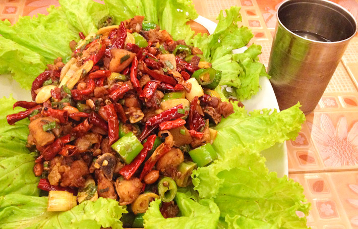 The spiciest thing we have EVER eaten: Schezwan Pork. 20% meat, 80% chillies. FIRE!