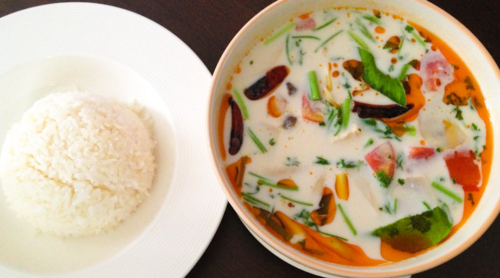 Tom Kha Goong: curry-like soup with chicken, galanga root and coconut.