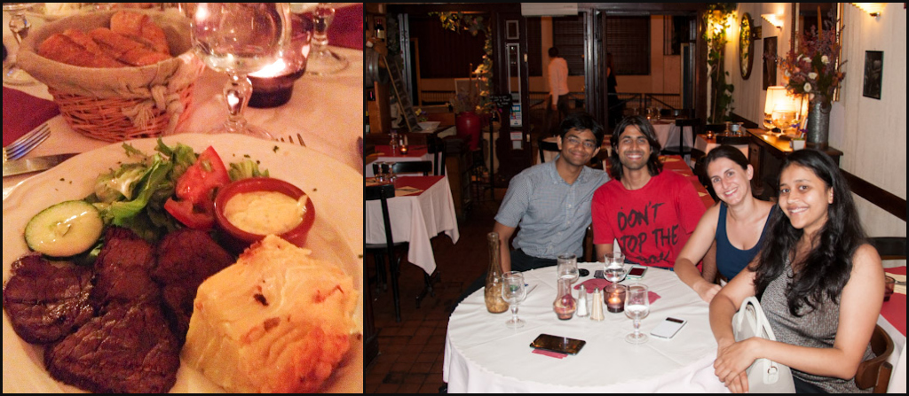 Bistro in Paris: grilled beef steak and Gratin Dauphinois. A tasty oh la la moment with some Indian friends!