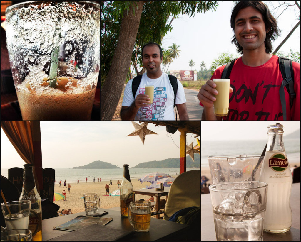 Drinks in Goa: fresh ginger ale, squeezed sugar cane juice, Indian beer and Goan chashew feni with soda
