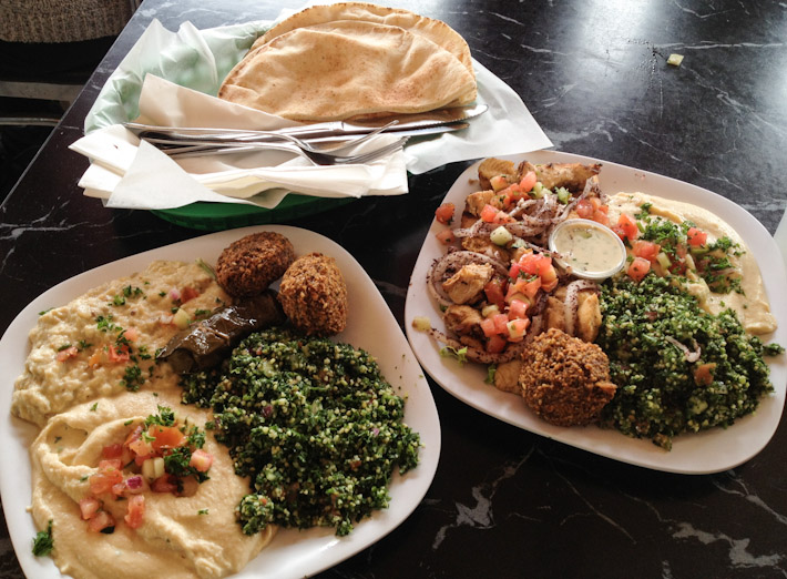 Middle Eastern lunch in San Francisco: Arabic bread, hummus, baba ganoush, falafel, chicken shish tawook and tabbouleh salad. For a meal, I almost felt like I was back in Dubai...